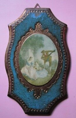 Vintage C. 1900 French Wall Hanging Romantic Painting Plaque