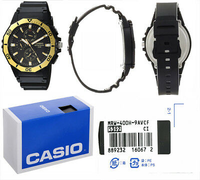 Casio MRW400H-9AV Men's Black Resin Band Multi-function Analog 100M Sports Watch