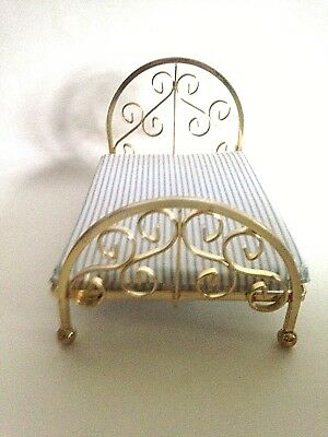 "Vintage Dollhouse Large Miniature Brass Bed Mattress 7"" x 4 3/4"" Japan"