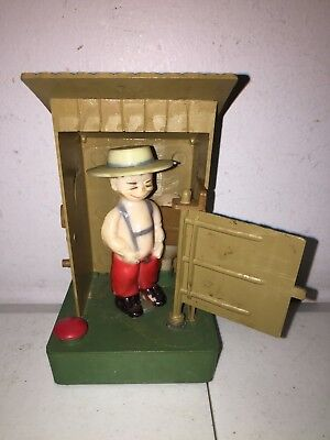 Vintage Hong Kong Plastic Peeing / Squirting Boy In Joke Outhouse Novelty Toy