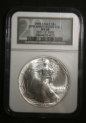 1995 Silver American Eagle 1 Oz Bullion Coin 20Th Anniversary Ngc Ms68
