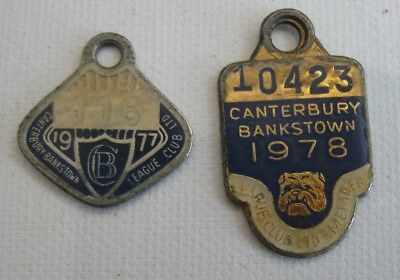 2 vintage CANTERBURY BANKSTOWN Leagues Club 1977, 1978 Membership BADGES