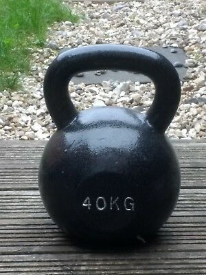 Bodypower 40 kg Cast Iron Kettlebell black for Crossfit and Fighter training