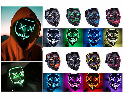 LED Glühend leuchtet Flash EL Wire Horror Party Halloween Maske Kostüm Cosplay