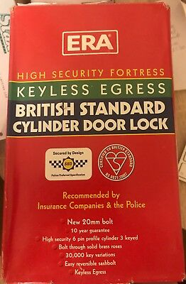 """ERA 333-51 Fortress BS Euro Security Deadlock 76mm 3"""" 6 Pin Cylinder chrome"""