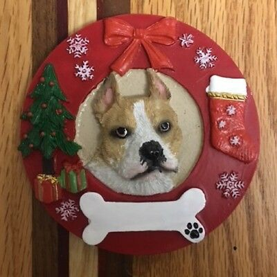 ceramic bisque pitbull dog christmas ornament ready to paint u paint