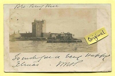 Original Real Photo Postcard Broughty Ferry Pier, used 1902... POOR CONDITION