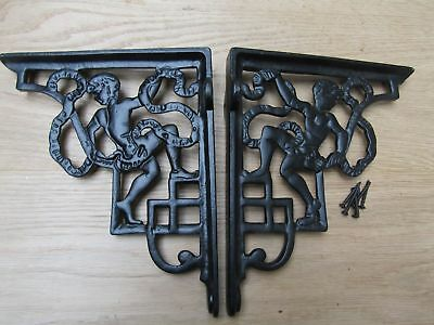 PAIR OF CHERUB BLACK cast iron rustic shelf support wall brackets