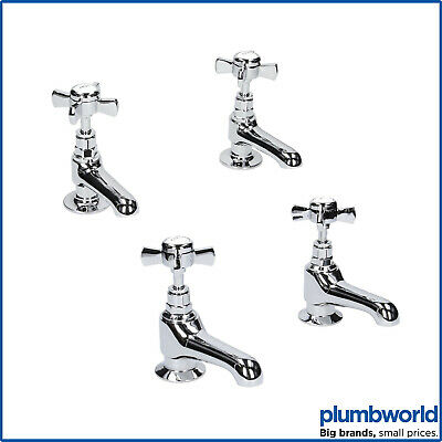 Traditional Twin Basin Sink Taps & Bath Taps Set Hot & Cold 2 Tap Hole Crosshead