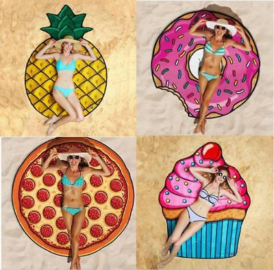 Fruit Food 3D Pattern Printing Pool Shower Beach Towel Sunscreen Shawl Scarf AU