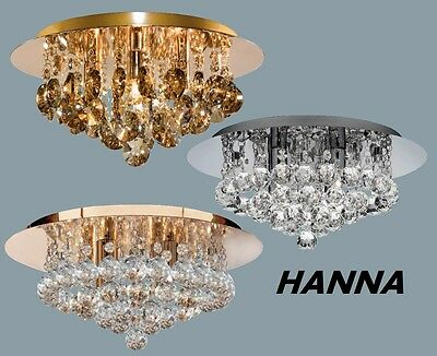 SEARCHLIGHT HANNA 4 Light Ceiling Chandelier With Glass Crystal Droplets