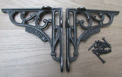 "6"" PAIR OF PADSTOW cast iron ornate shelf support wall brackets"