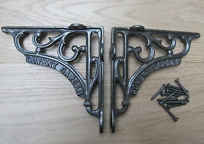 "6"" PAIR OF CONVENT GARDEN cast iron ornate shelf support wall brackets"