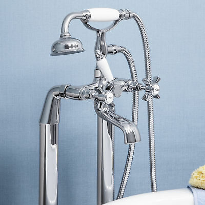 Traditional Bathroom Freestanding Bath Shower Mixer Tap Crosshead Handle Chrome
