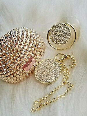 Gold Baby Pacifier Pacifier Case and Pacifier Clip Gift Set Bling