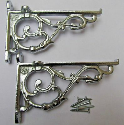 PAIR OF SMALL LIPPED CHROME cast iron ornate shelf support wall brackets