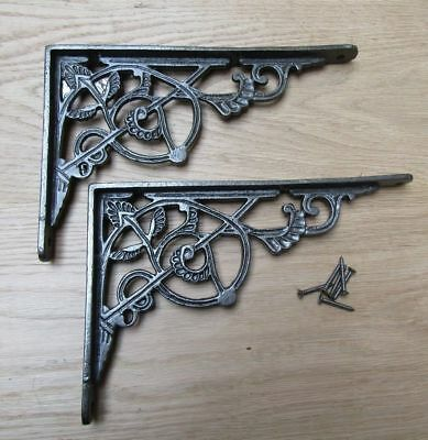 "PAIR OF 10""  ANTIQUE IRON TRELLIS cast iron ornate shelf support wall brackets"