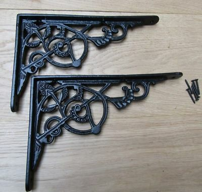 PAIR OF BLACK TRELLIS cast iron ornate shelf support wall brackets