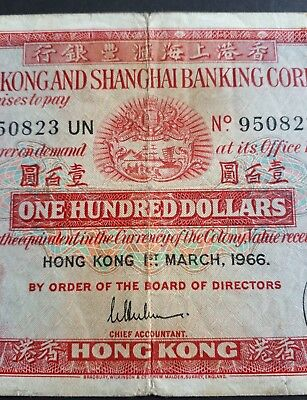 hong kong 100 dollars  1966