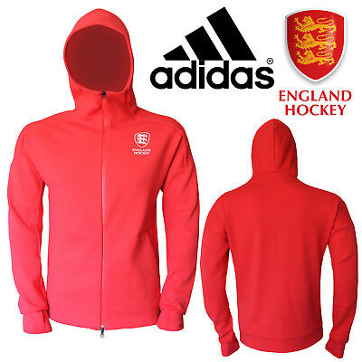 Adidas Men's ZNE England Hockey World Cup Replica Hoodie Full Zip Sports Top