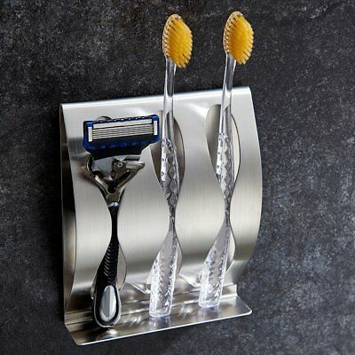 Wall Mount Stainless Steel Toothpaste Dispenser 2/3Position Toothbrush Holder US