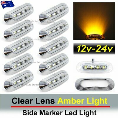 10X Clear Amber 4 SMD LED Side Marker Tail Light Clearance Truck Trailer Car AU