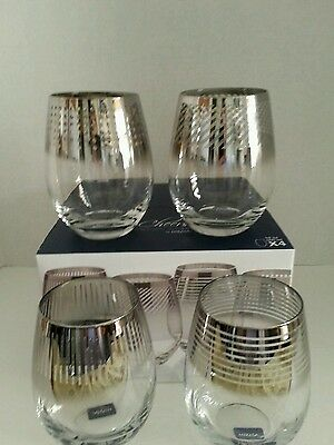 Mikasa Cheers Metallic Ombre Stemless Wine Glasses  Set of 4  NIB 19oz