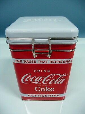 Coca-Cola Square Tin Canister With Locking Lid