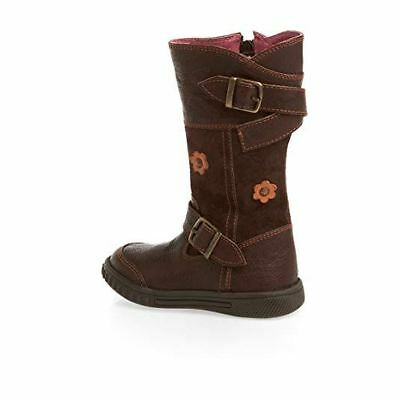 Hush Puppies Saury Kids Girls Leather Brown Suede Zip Buckle Boots Ankle Casual