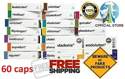 Peptide bioregulators of Havinson 60 capsules 21 Variations, Endoluten, Cerluten