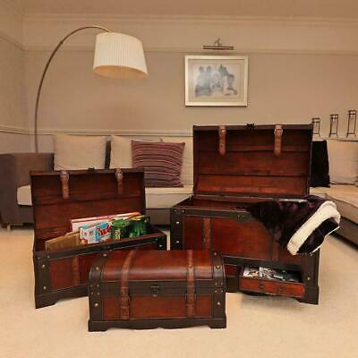 Wido SET OF 3 VINTAGE COLONIAL PIRATE WOODEN TREASURE CHESTS TOY STORAGE BEDROOM