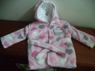 Soft, snug, hearts, First Steps baby hooded bath robe/dressing gown One Size NWT