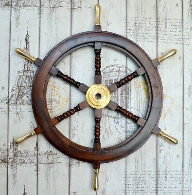 """Ship Wheel Pirate Captains Ship Steering W/Brass Handle Wall Decorative Item 30"""""""