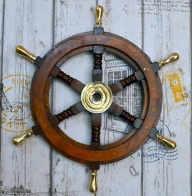 """Ship Wheel Pirate Captains Ship Steering W/Brass Handle Wall Decorative Item 18"""""""