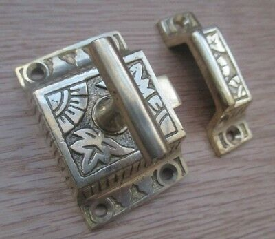 Brass Tee Latch Ornate Decorative Cupboard Cabinet Door Catch Thumbturn Lock