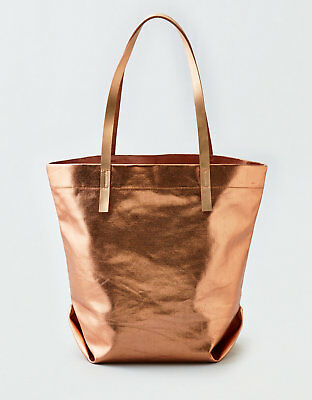 NWT! $35 AEO Metallic Canvas Tote - Rose Gold - American Eagle Authentic
