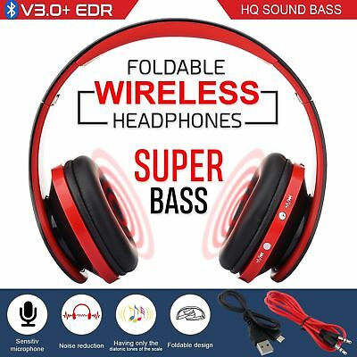 Wireless Bluetooth Stereo Headphones Over Ear Noise Cancelling Headset W/ Mic