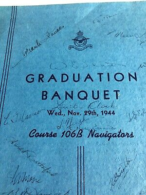 Rcaf Wwii Navigators Graduation Banquet Folder With Picture And Autographs