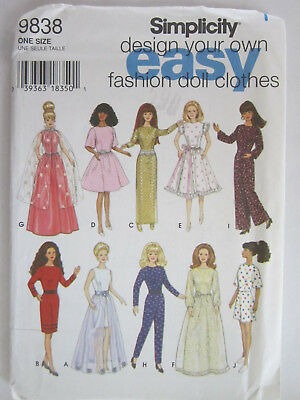 """Barbie Doll Sewing Pattern Simplicity #9838 for 11 1/2"""" doll 10 Outfits"""
