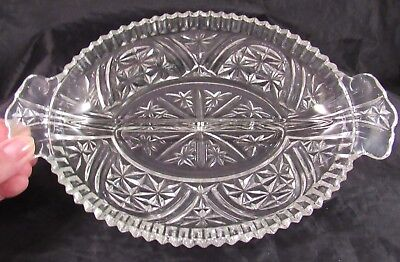 Vintage Clear Pressed Glass Divided Relish/Pickle  Dish 6 1/2 X 10 Inches