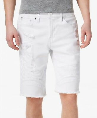 $124 GUESS Men's WHITE SLIM FIT PINTUCK MOTO VINTAGE RIPPED JEAN SHORTS SIZE 33