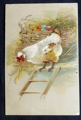 PFB  UNCIRCULATED VINTAGE ART  Post Card: Colored Eggs, Chicken & Ladder #2479