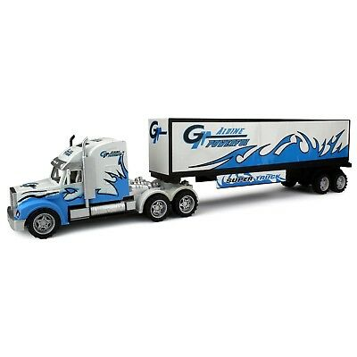 Kids Semi Truck Toy Friction Power Freight Trailer Toddler Boy Girl Gift New