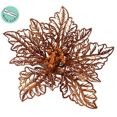 "5"" Glittered Poinsettia Clip-On Artificial Flower -Gold/Bronze (pack of 24)"