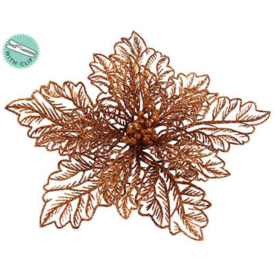 "8"" Glittered Poinsettia Clip-On Artificial Flower -Gold/Bronze (pack of 12)"