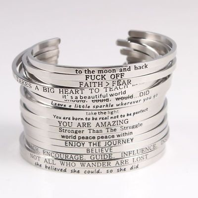 Inspirational Mantra Motivational Saying Bracelet 316L Stainless Steel Open Cuff