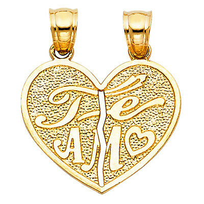 Real 14K Yellow Gold Broken Split Heart Te Amo Vintage Charm Pendant Unisex