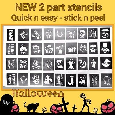 36 X  2 Part Halloween stencils NEW Top up your glitter tattoo kit face painting