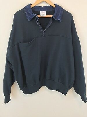 VTG Rothco Hipster Sweatshirt Denim Collar and Elbow Patches XL
