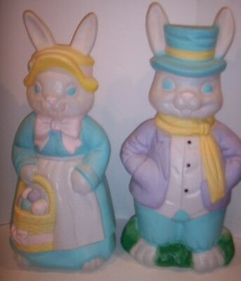 "Easter Bunny Large 35"" Pair Mr & Mrs Rabbit Plastic Blow Mold Lighted Empire"